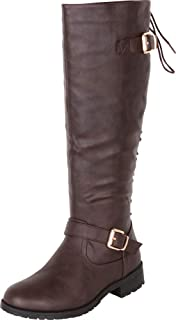 Women's Strappy Buckle Back Lace Corset Knee-High Riding Boot