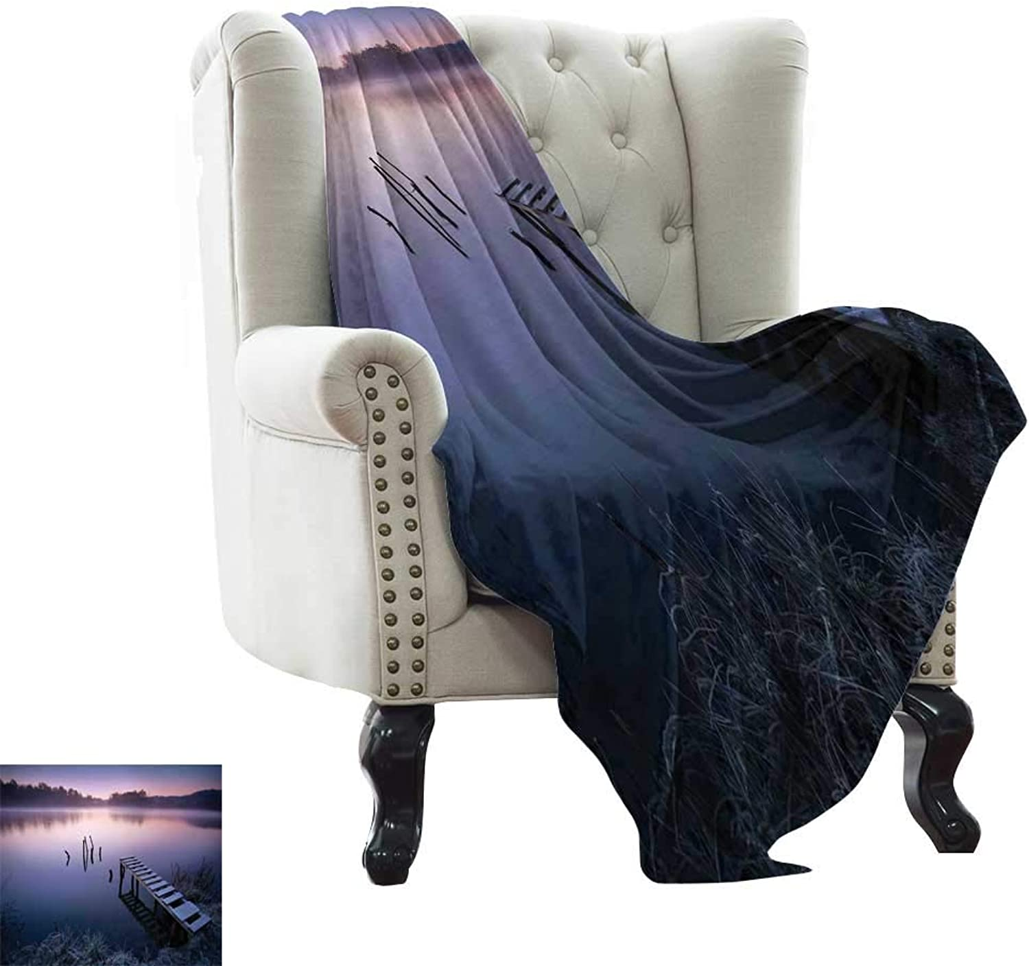 Camping Blanket Seascape,Misty Lake Wooden Pier Distant Forest in Early Morning Fantasy Dreamy,Lavender Navy bluee Weighted Blanket for Adults Kids, Better Deeper Sleep 35 x60