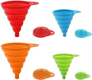 Paquet de 4 entonnoirs pliables en silicone, entonnoir flexible/pliable/de cuisine pour bouteille d'eau Transfert de liqui...