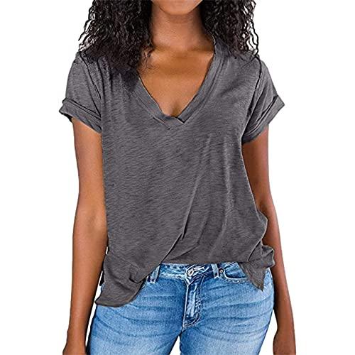SLYZ Camiseta De Manga Corta De Verano para Mujer, Blusa Suelta De Manga Corta con Cuello En V Y Costuras De Color Sólido