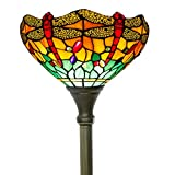 Tiffany Floor Lamp Torchiere Up Lighting W12H66 Inch Green Yellow Stained Glass Crystal Bead Dragonfly Lampshade Antique Standing Iron Base 1E26 Foot Switch S009G WERFACTORYHome Office Decoration