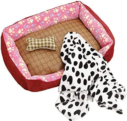 Leifeng Tower Luxury Corduroy Dogs Bed, Premium plysch hundsängar, Mycket mjuk hundsäng Avtagbar klädsel för djur soffa, helt tvättbar, med matta, leksak, filt, beige, S