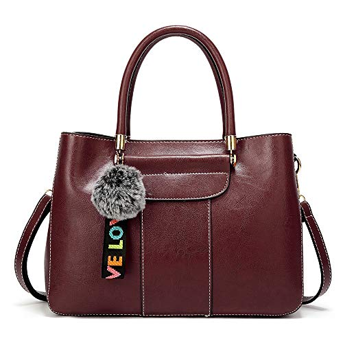 WOWCROSS Frauen Leder Handtaschen Schulter Top Griffe Tasche Tote Organizer Umhängetasche Umhängetasche Damen Geldbörse, Kaffee