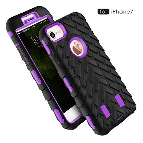iphone7 Funda, neumático de Goma Suave híbrida rígida a Rayas de neumáticos Combo Resistente de Doble Capa a Prueba de Golpes, protección de la Funda de Silicona para iPhone 7 4,7 Pulgadas