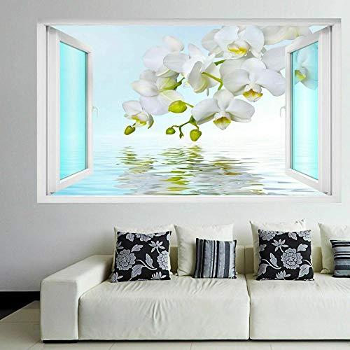 Pegatinas de pared Pegatinas artísticas de pared con reflejo de agua de orquídea blanca, calcomanía mural para habitación de niños, papel tapiz para el hogar- 80×120cm