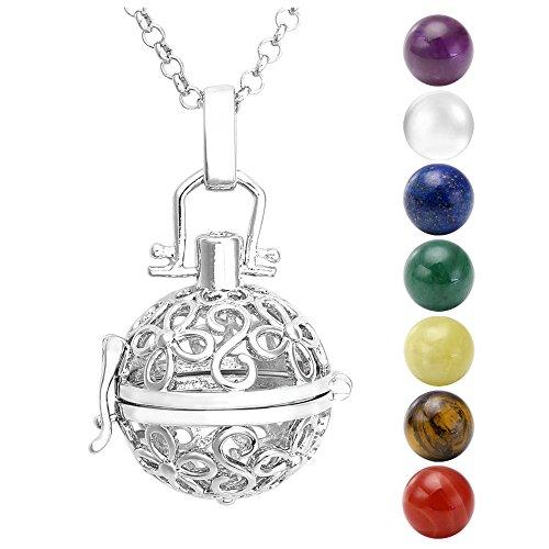 Jovivi - Collana con ciondolo in argento, ali + 7 pietre chakra naturali, tibetane, buddiste, rotonde e Argento, colore: Fleurs A