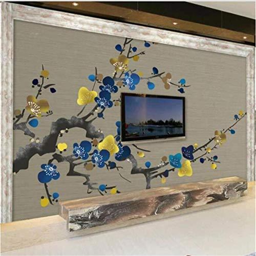 Diaan behang aangepaste grote high-end handgeschilderde tv-achtergrond muur pruim bloesem inkt pruim behang wooncultuur Afmetingen: 400 x 280 cm (157,48 in door 110.24 inch).