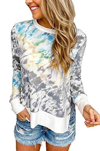 Herbst Frauen Tie-Dye Druck Farbverlauf Rundhals Langarm T-Shirt Frauen