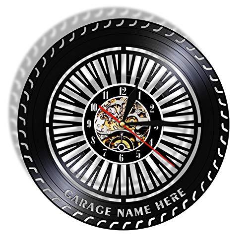szhao Reloj de Pared con Rueda de Rendimiento, Reloj de Rueda de Coche Antiguo, Servicio de Coches, Ventas, reparación de Garaje, Letrero de Vinilo, Reloj de Pared Decorativo