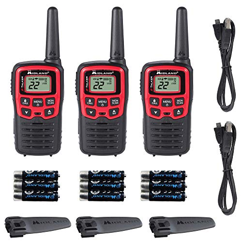 Midland - X-TALKER T31VP, 22 Channel FRS Walkie Talkies - Extended Range Two Way Radios, 38 Privacy Codes, & NOAA Weather Alert (3 Pack) (Black/Red). Buy it now for 59.99