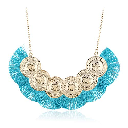 mangege Bohemian Exaggerated Fashion Silk Disc Necklace Europe and America Personality Retro...
