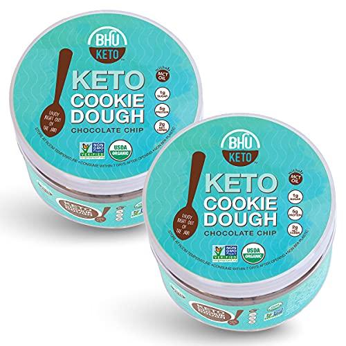 BHU Keto Cookie Dough Snack Jar, Chocolate Chip - 2g Net Carbs, 1g Sugar - An Organic & Vegan Dessert Snack free from Grain, Gluten and Dairy (2 Pack)