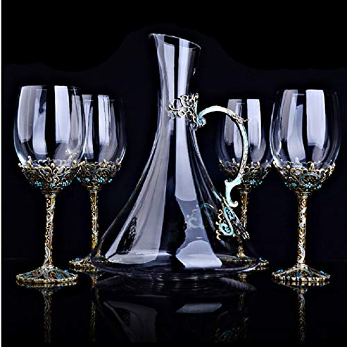 Bar Set Decanter Enamel Tall Cup Creative Belettering Kop Van De Wijn Set Whiskey Glass Crystal Decanter Glazen Karaf Rode Wijn Glas