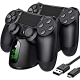 PS4 Controller Charger, PS4 Charging Station with Dual Charging Port, PS4 Controller Charger Station for Playstation 4/PS4/PS4 Slim/PS4 Pro Controller, Upgrade USB C Cable&Separate PS4 Micro Receivers