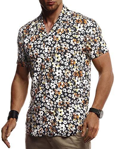 Leif Nelson Mannen hemd korte mouwen zomer oversize trend Kentkraag stijlvolle mannen Hawaïhemd stretch shirt korte mouwen jongens basic shirt vrije tijd vakantie zomeroverhemd strrand LN3655