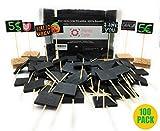 Planta Color Pack 100 Pizarritas para Precios (Madera de Bambú). Incluye Rotulador Tiza y 10 Bases Adhesivas de Corcho. Pizarras Pequeñas (Mirar Medidas Antes de Comprar).