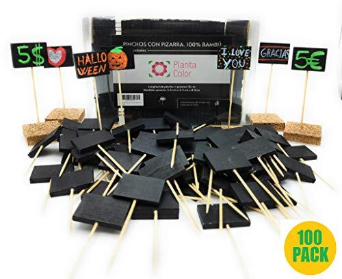 Planta Color Pack 100 Pizarritas para Precios (Madera de Bambú). Incluye Rotulador Tiza y 10 Bases Adhesivas de Corcho