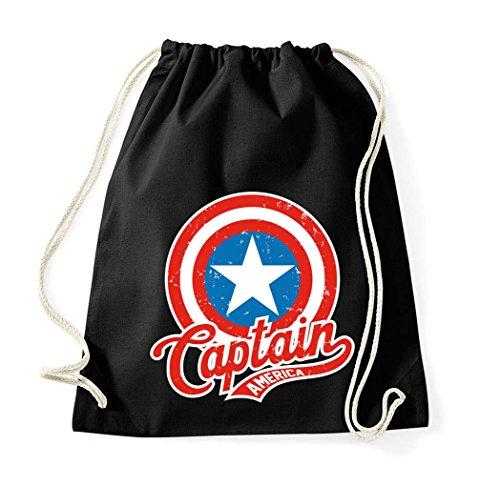 TRVPPY Baumwoll Turnbeutel/Modell Captain America/Beutel Rucksack Jutebeutel Sportbeutel Tasche Fashion Hipster/Farbe Schwarz