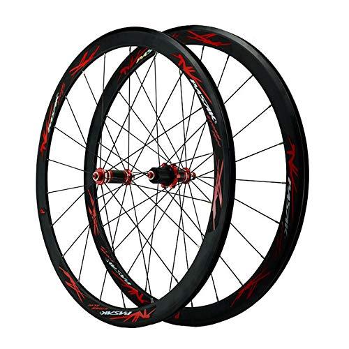 ZFF 700C Rennrad Laufradsatz Kohlefaser Nabe C/V-Bremse 40mm Matt Aluminium Rand Schnellspanner 7/8/9/10/11 Fach Vorne 100MM Hinten 130MM (Color : Red)