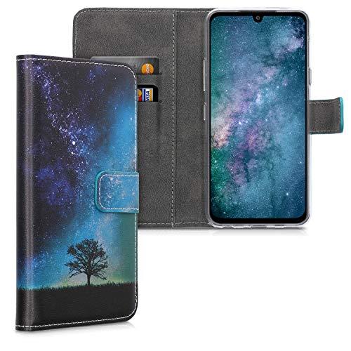 kwmobile Hülle kompatibel mit LG G8X ThinQ - Kunstleder Wallet Hülle mit Kartenfächern Stand Galaxie Baum Wiese Blau Grau Schwarz