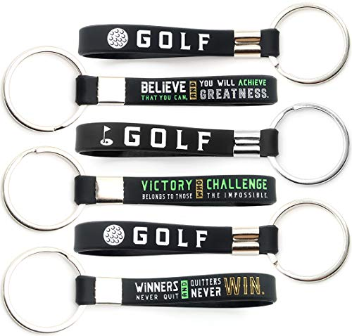 (12-Pack) Golf Keychains with Motivational Quotes - Wholesale Pack of Key Chains in Bulk for Giveaway Golf Gifts - Golfing Party Favors and Goodie Bag Supplies for Boys Girls Men Women Golfers