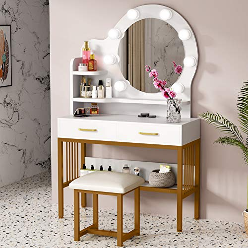 Tribesigns Vanity Set with Round Lighted Mirror and Cushioned Stool, Elegant Makeup Table Vanity Desk with 2 Drawers and Storage Shelves, Dressing Table for Women, Girls Bedroom (Gold and White)