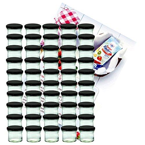 MamboCat - Lot de 50 pots de marmelade - En verre incassable - Contenance de 125 ml - TO 66 - Avec couvercle noir - Avec livre de recettes Diamant-Zucker inclus (français non garanti).