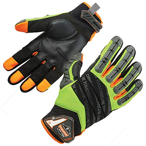 Ergodyne ProFlex 924Hybrid Auswirkungen reduziert Arbeit Handschuhe mit Rückseite Hand Schutz, lime, Large, Set von 2Stück