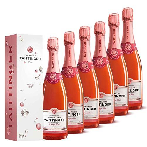 Taittinger Champagner Set 6x 0,75l Brut Prestige Rosé je in Geschenkverpackung - Champagnerset