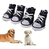 Demiawaking Set 4 Scarpe di Tela per Cani Domestico Scarpe da Ginnastica Sportive Impermeabile Antiscivolo Stivaletti Traspiranti...