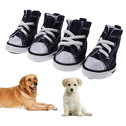 Demiawaking Set 4 Scarpe di Tela per Cani Domestico Scarpe da Ginnastica Sportive Impermeabile Antiscivolo Stivaletti Traspiranti (Blu, 5.4x4.3cm)