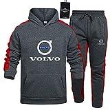 Herren und Damen Sportanzug Für Vo_L.Vo-s Zweiteilige Sweater Pants Stripe mit Kapuze Trainingsanzug Lose SPONYBORTY/Grigio/L