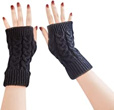 BIGBOBA Solid Color Simple Half Finger Gloves Monochrome Knitted Wool Warm Short Sleeve Valentine's Day for Men and Women Couple