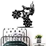yaonuli Creativo Robot Bicicleta Vinilo Adhesivo Autoadhesivo Papel Tapiz decoración de la habitación Etiqueta de la Pared 42X90 cm