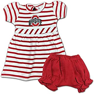 Two Feet Ahead Ohio State Buckeyes Infant Embroidered Striped Dress and Diaper Cover