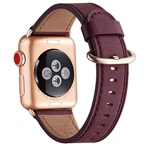 WFEAGL Compatible iWatch Band 40mm 38mm, Top Grain Leather Band with Gold Adapter (the Same as Series 5/4/3 with Gold Aluminum Case in Color) for iWatch SE & Series 6/5 /4/3/2/1 (Wine/RoseGold)
