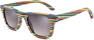 SGJFZD Colorful Wood Personality Colorful Polarized Anti-UV Sunglasses Full Frame Wood Color Film Sunglasses (Color : Gray)