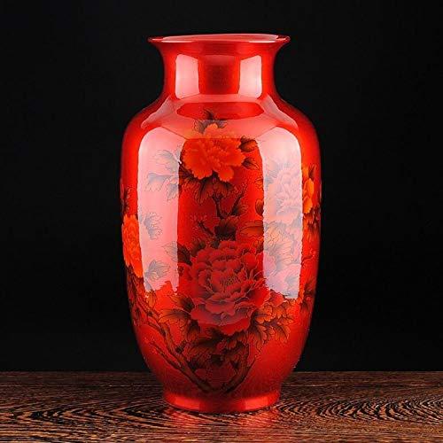 ZYG222 Chinese kristallen glazuur keramische rode pioen vaas porseleinen vaas voor kunstmatige bloem decoratie vaas