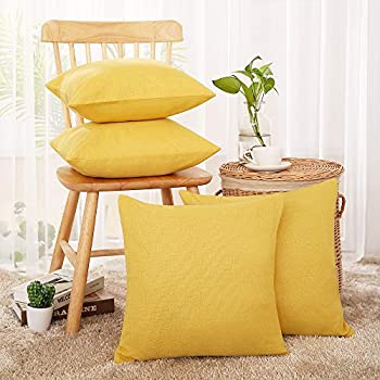 Deconovo Faux Linen Fall Pillow Covers - Yellow Cushion Cover for Sofa  Goose Yellow 18x18 in Set of 4