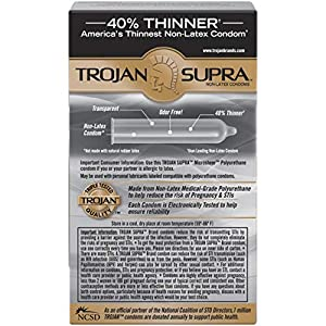 Trojan Supra Non-Latex Bareskin Lubricated Condoms, 6 ct (Packaging May Vary)