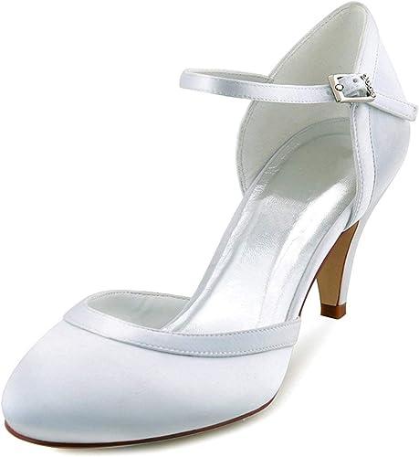ZHRUI Les Les Les dames Amande Toe Bride à à la Cheville Satin Chaussures de soirée de Mariage (Couleuré   blanc-5cm Heel, Taille   3.5 UK)  pour pas cher