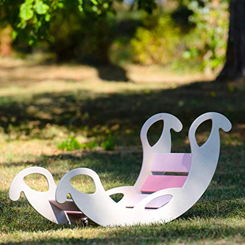 """Kinder Kinderwippe """"Jumbo pink"""" aus Holz – handgefertigt, ideal zum Balancieren, fördert Motorik und Körpergefühl, für Jungen und Mädchen ab 12 Monaten"""