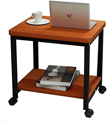 Movable Coffee Table Small Square Table Sofa Side Table Corner Table Bedside Table Computer with Pulley (Color : 1)