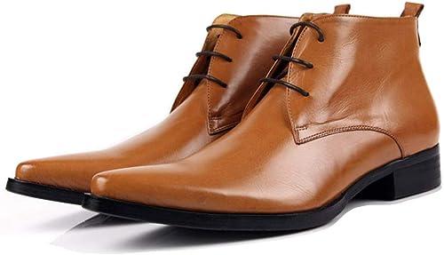 Nihiug botas Puntiagudas de Hombre botas de Tobillo botas de Cuero botas de Cuero de Hombre botas Altas Martin zapatos de Negocios al Aire Libre
