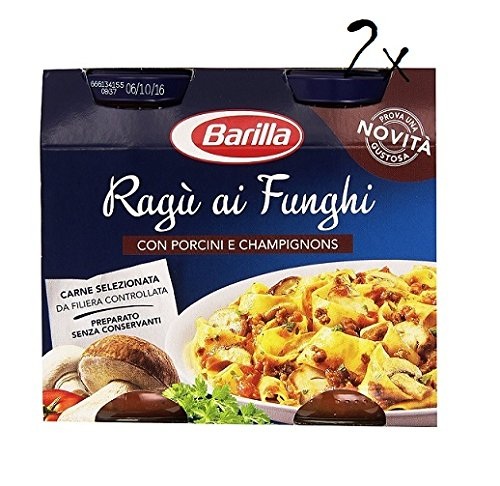 2x Barilla ragù ai funghi tomatensauce mit Pilze Steinpilzen Champignons 2x 180g