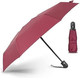 YQRYP Mini Five Folding Automatic Umbrella Compact Portable Pocket Umbrella Dual-use Sun Umbrella UV Protection Sunscreen Upf50+ Windproof Umbrella, Golf Umbrella (Color : Red)