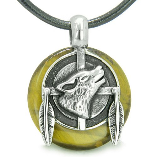 BestAmulets Amulet Howling Wolf Feathers Powers Tiger Eye Lucky Donut...
