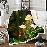 Manta de felpa con diseño de hongos con purpurina para decoración de setas para niños y niñas, manta de sherpa botánica para noche, manta natural para sofá cama, individual de 50 x 60 pulgadas