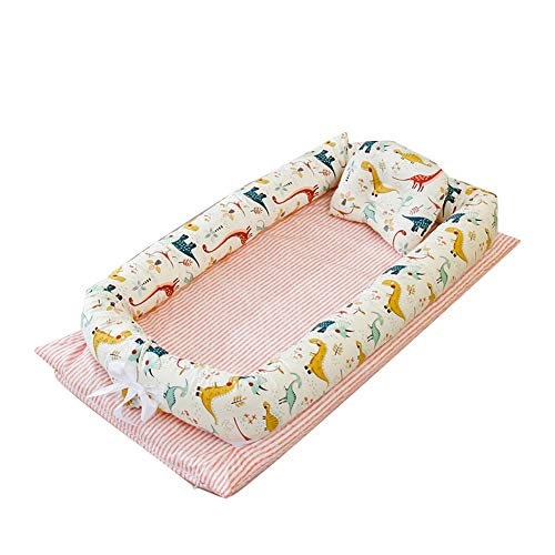 YUEHAPPY Baby Bassinet for Bed, Newborn Baby Lounger, Infant Sleeping Nest/Pods Breathable 100% Cotton Multifunctional Baby Nest, Portable Crib for Bedroom/Travel (0-24 Months),Without quilt