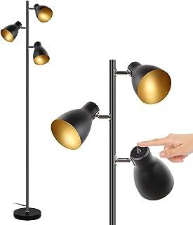 lampadaire vintage, 3 spots orientables,Interrupteur de commande indépendant ,Osasy lampe à pied design rétro, ampoules E1...